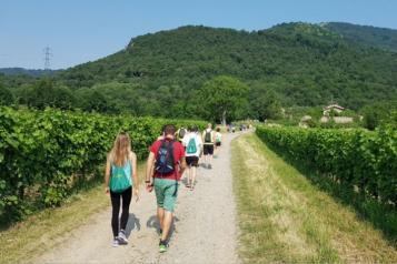 Gente in cammino lungo un sentiero