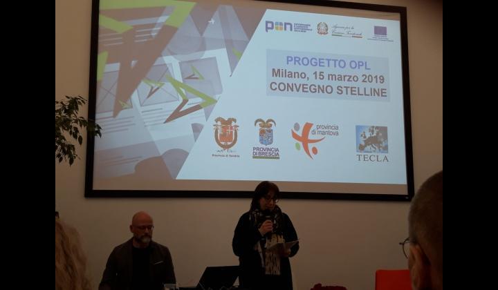 Marina Menni e Marco Gussago dell'Ufficio Biblioteche della Provincia di Brescia